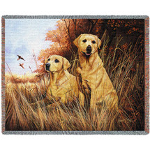 Labrador Retrievers Yellow Lab - Robert May - Cotton Woven Blanket Throw - Made in the USA (72x54) Tapestry Throw