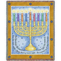 Eight Days Hanukkah - Judy Hand - Cotton Woven Blanket Throw - Made in the USA (72x54) Tapestry Throw