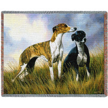 Greyhound - Robert May - Cotton Woven Blanket Throw - Made in the USA (72x54) Tapestry Throw