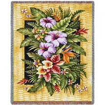 Tropical Flowers - Helen Vladykina - Cotton Woven Blanket Throw - Made in the USA (72x54) Tapestry Throw