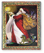 Santa Making A List - Virginia Kylberg - Cotton Woven Blanket Throw - Made in the USA (72x54) Tapestry Throw