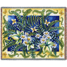 Ferns - Helen Vladykina - Cotton Woven Blanket Throw - Made in the USA (72x54) Tapestry Throw