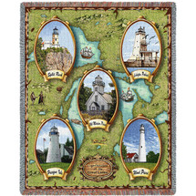 Lighthouses of the Great Lakes - Wind Point, Presque, Old Mission, Split Rock, Ludington - Cotton Woven Blanket Throw - Made in the USA (72x54) Tapestry Throw