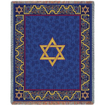 Magen David - Star of David - Cotton Woven Blanket Throw - Made in the USA (72x54) Tapestry Throw