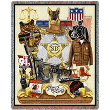 Police Department - Sheriff - Cotton Woven Blanket Throw - Made in the USA (72x54) Tapestry Throw