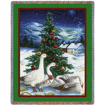 Christmas Goose - Lynn Bywaters - Cotton Woven Blanket Throw - Made in the USA (72x54) Tapestry Throw