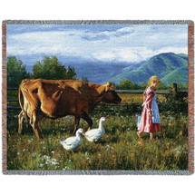 Cows Morning Walk - Tapestry Throw