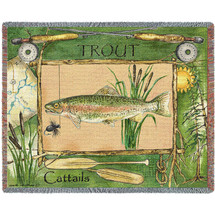Fisherman's Catch Trout - Tapestry Throw