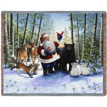 Santa in the Forest - Lynn Bywaters - Cotton Woven Blanket Throw - Made in the USA (72x54) Tapestry Throw