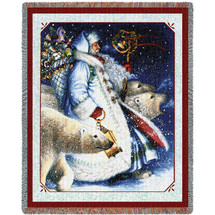 Santa and Polar Bears - Lynn Bywaters - Cotton Woven Blanket Throw - Made in the USA (72x54) Tapestry Throw