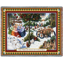 Twelve Days Of Christmas - Lynn Bywaters - Cotton Woven Blanket Throw - Made in the USA (72x54) Tapestry Throw