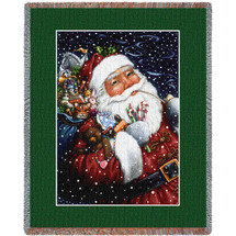 Smoking Santa - Lynn Bywaters - Cotton Woven Blanket Throw - Made in the USA (72x54) Tapestry Throw