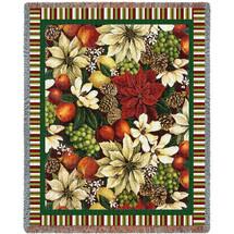 Magnolia Poinsettia - Helen Vladykina - Cotton Woven Blanket Throw - Made in the USA (72x54) Tapestry Throw
