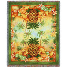 Pineapples and Fruit - Helen Vladykina - Cotton Woven Blanket Throw - Made in the USA (72x54) Tapestry Throw