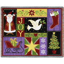 Christmas Icons - Stephanie Stouffer - Cotton Woven Blanket Throw - Made in the USA (72x54) Tapestry Throw