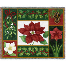 Christman Flora - Stephanie Stouffer - Cotton Woven Blanket Throw - Made in the USA (72x54) Tapestry Throw