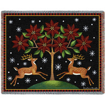 Deer Poinsettia and Tree - Stephanie Stouffer - Cotton Woven Blanket Throw - Made in the USA (72x54) Tapestry Throw