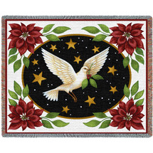Dove and Poinsettias - Stephanie Stouffer - Cotton Woven Blanket Throw - Made in the USA (72x54) Tapestry Throw