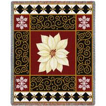 White Poinsettia - Stephanie Stouffer - Cotton Woven Blanket Throw - Made in the USA (72x54) Tapestry Throw