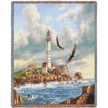 Boston Lighthouse - Rudi Reichardt - Cotton Woven Blanket Throw - Made in the USA (72x54) Tapestry Throw