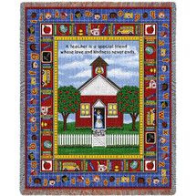 Teacher - School Days - Cotton Woven Blanket Throw - Made in the USA (72x54) Tapestry Throw
