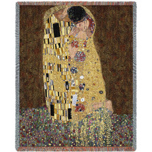 The Kiss - Gustav Klimt - Cotton Woven Blanket Throw - Made in the USA (72x54) Tapestry Throw