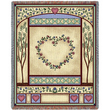 Love Quilt - Cotton Woven Blanket Throw - Made in the USA (72x54) Tapestry Throw
