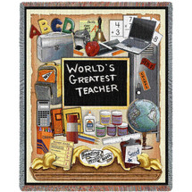 World's Greatest Teacher - Cotton Woven Blanket Throw - Made in the USA (72x54) Tapestry Throw