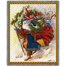 Windswept Santa - Peggy Abrams - Cotton Woven Blanket Throw - Made in the USA (72x54) Tapestry Throw