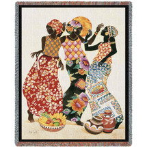 Jubilation - Caribbean Style - Keith Mallett - Cotton Woven Blanket Throw - Made in the USA (72x54) Tapestry Throw