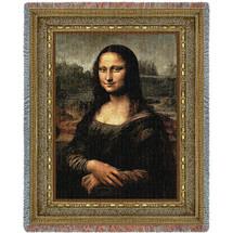 Mona Lisa - Leonardo da Vinci - Cotton Woven Blanket Throw - Made in the USA (72x54) Tapestry Throw