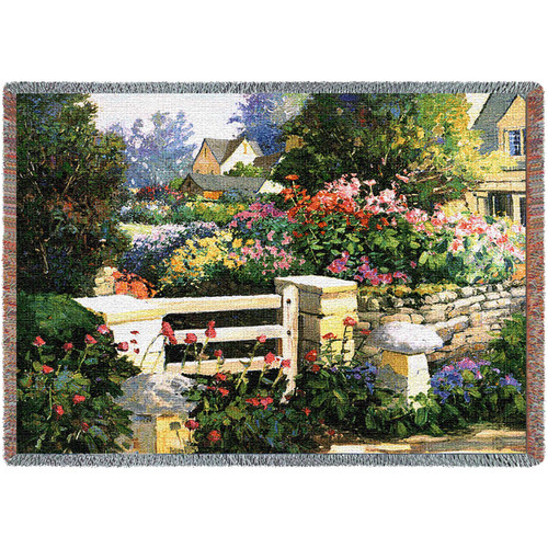 The Flower Gate Woven Large Soft Comforting Throw Blanket With Artistic Textured Design Cotton USA 72x54 Tapestry Throw