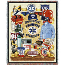 EMS - First Responders - Cotton Woven Blanket Throw - Made in the USA (72x54) Tapestry Throw