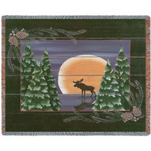 Moonlight Moose - Susan Clickner - Cotton Woven Blanket Throw - Made in the USA (72x54) Tapestry Throw
