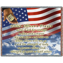 Police Department - Officer Prayer American Flag - Cotton Woven Blanket Throw - Made in the USA (72x54) Tapestry Throw
