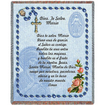 Hail Mary Prayer with Rosary Beads in Spanish - Ave Maria  - Tapestry Throw
