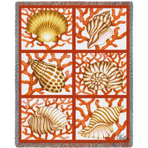 Shells and Coral - Stephanie Stouffer - Cotton Woven Blanket Throw - Made in the USA (72x54) Tapestry Throw