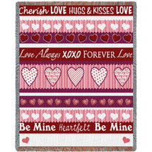 Sweetheart - Cotton Woven Blanket Throw - Made in the USA (72x54) Tapestry Throw