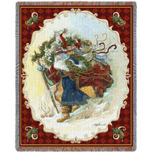 Windswept Santa Journey - Peggy Abrams - Cotton Woven Blanket Throw - Made in the USA (72x54) Tapestry Throw