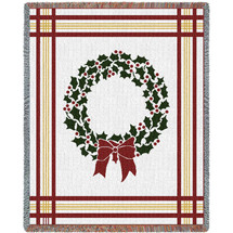 Christmas Wreath - Cotton Woven Blanket Throw - Made in the USA (72x54) Tapestry Throw
