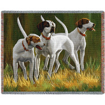 First Light Hounds Pointers - Bob Christie - Cotton Woven Blanket Throw - Made in the USA (72x54) Tapestry Throw