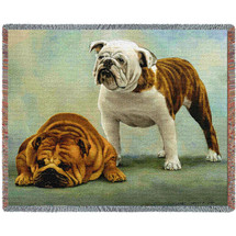 I Said I Was Sorry Bulldog - Bob Christie - Cotton Woven Blanket Throw - Made in the USA (72x54) Tapestry Throw