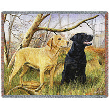 Labrador Retrievers Lab - Robert May - Cotton Woven Blanket Throw - Made in the USA (72x54) Tapestry Throw