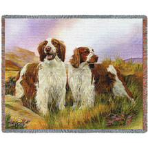Welsh Springer Spainiel - Robert May - Cotton Woven Blanket Throw - Made in the USA (72x54) Tapestry Throw