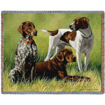 Variations On a Breed Pointers - Bob Christie - Cotton Woven Blanket Throw - Made in the USA (72x54) Tapestry Throw