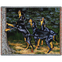 Night Song Doberman - Bob Christie - Cotton Woven Blanket Throw - Made in the USA (72x54) Tapestry Throw