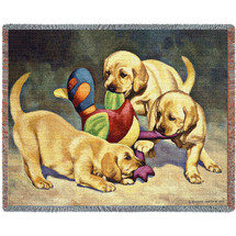 Golden Retriever Dog - I've Got it -Bob Christie - Cotton Woven Blanket Throw - Made in the USA (72x54) Tapestry Throw
