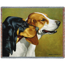 Coonhound - Bob Christie - Cotton Woven Blanket Throw - Made in the USA (72x54) Tapestry Throw