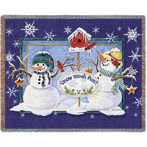 Snow Much Fun - Audrey Jean Roberts - Cotton Woven Blanket Throw - Made in the USA (72x54) Tapestry Throw