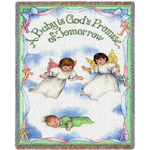 Pure Country Weavers | A Baby is Gods Promise Mini Woven Tapestry Throw Blanket with Fringe Cotton USA 35x54 Tapestry Throw